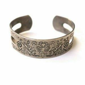 Vintage Silver Tone Etched Cuff Bracelet